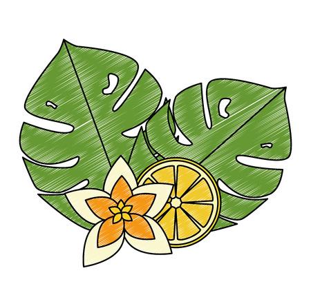 fiore esotico e tropicale con disegno di illustrazione vettoriale di limone Vettoriali