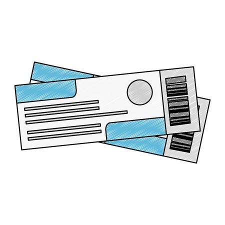 ticket flight isolated icons vector illustration design