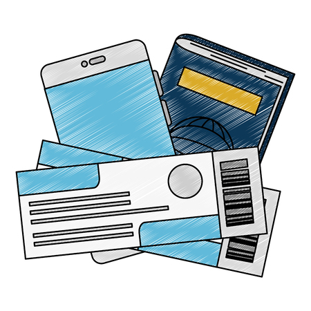 passport and flight tickets vector illustration design Ilustrace