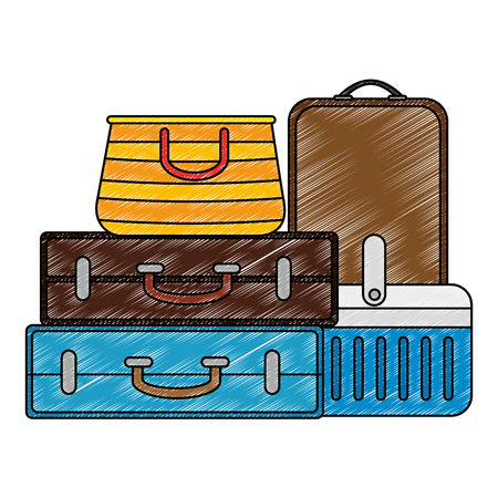 suitcases with cooler and handbag vector illustration design
