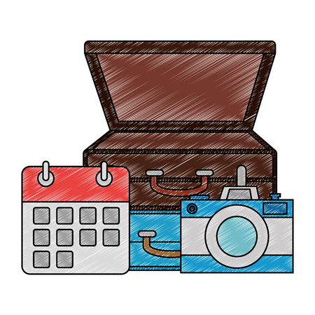 suitcase with camera and calendar vector illustration design 向量圖像