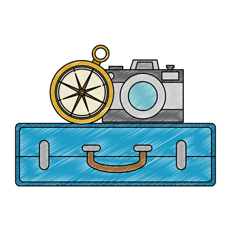 suitcase with camera and compass vector illustration design