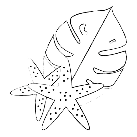 exotic and tropical leafs and starfish vector illustration design