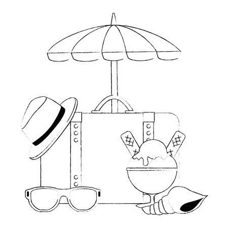 suitcase travel with umbrella and summer hat vector illustration design