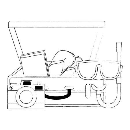 suitcase with camera and snorkel vector illustration design Banque d'images - 105757522