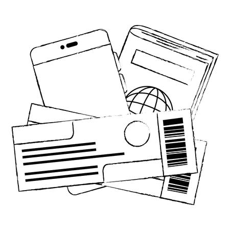 passport and flight tickets vector illustration design