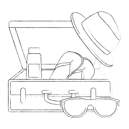 suitcase with summer hat and sunglasses vector illustration design