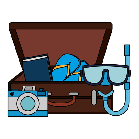 suitcase with camera and snorkel vector illustration design