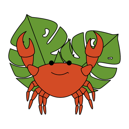 crab sea with leafs vector illustration design