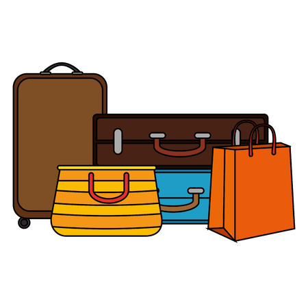set suitcases travel icons vector illustration design