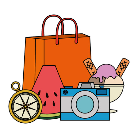 summer handbag with accessories vector illustration design