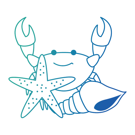 crab sea with starfish and shell vector illustration design