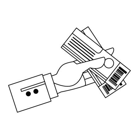 hand with tickets flight vector illustration design