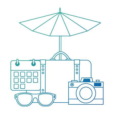 suitcase with umbrella and camera vector illustration design