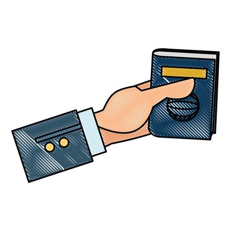hand with passport document vector illustration design