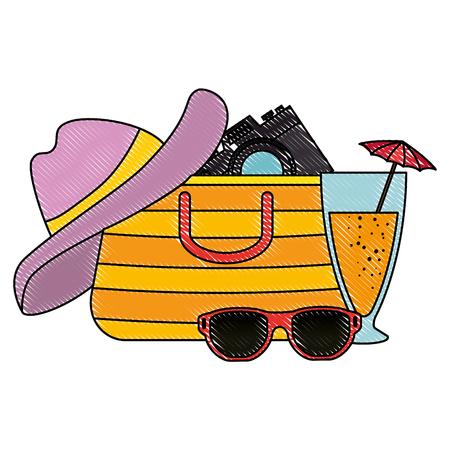 summer handbag with camera and cocktail vector illustration design Иллюстрация