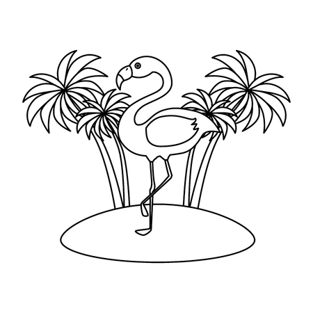 tree palms with flamengo scene vector illustration design Stockfoto - 112282674