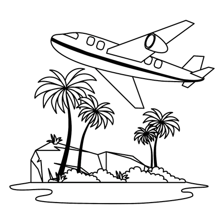 tree palms with airplane flying scene vector illustration design