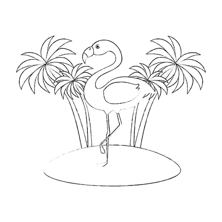 tree palms with flamengo scene vector illustration design