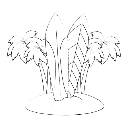 tree palms with surfboards scene vector illustration design