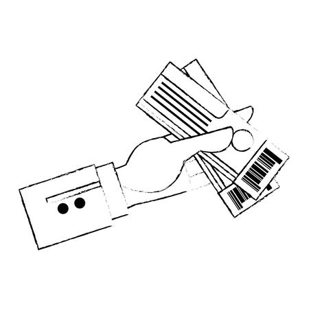 hand with tickets flight vector illustration design Stock Vector - 105757585