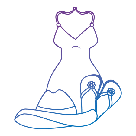 swimsuit female clothes with hat and sandals vector illustration design