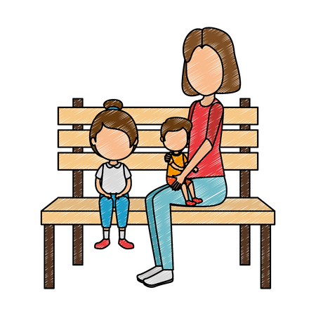 mother with kids in park chair vector illustration design