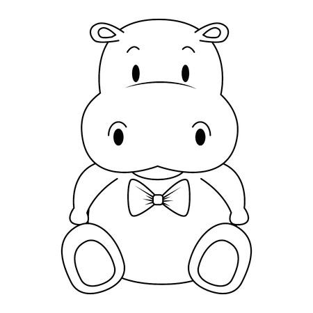 schattig en schattig hippo karakter vector illustratie ontwerp