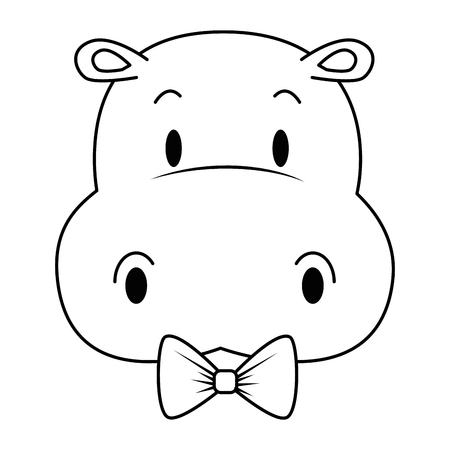 cute and adorable hippo character vector illustration design Vektorové ilustrace