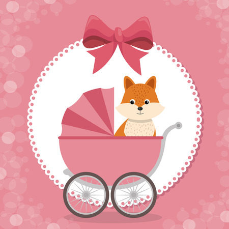 baby shower card with cute fox in cart vector illustration design