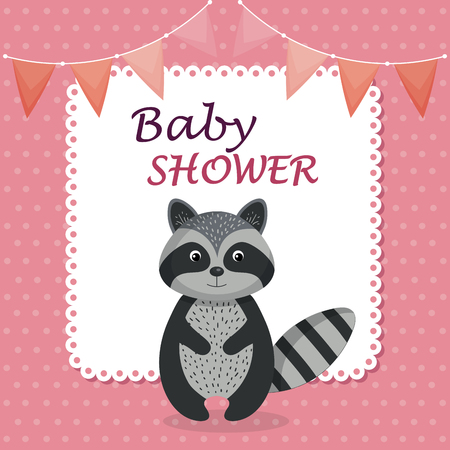 baby shower card with cute raccoon vector illustration design Фото со стока - 105758085