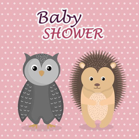 baby shower card with cute owl and porcupine vector illustration design 스톡 콘텐츠 - 105758086
