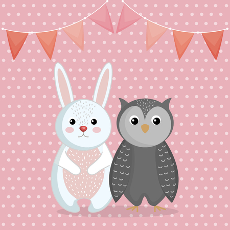 cute rabbit and owl animal character vector illustration design