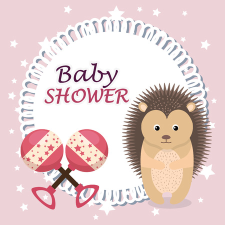 baby shower card with cute porcupine vector illustration design Illustration