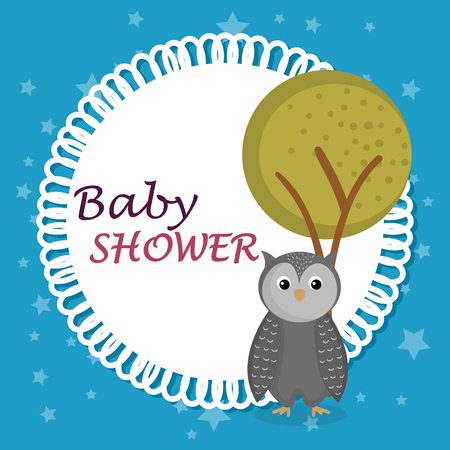 baby shower card with cute owl vector illustration design