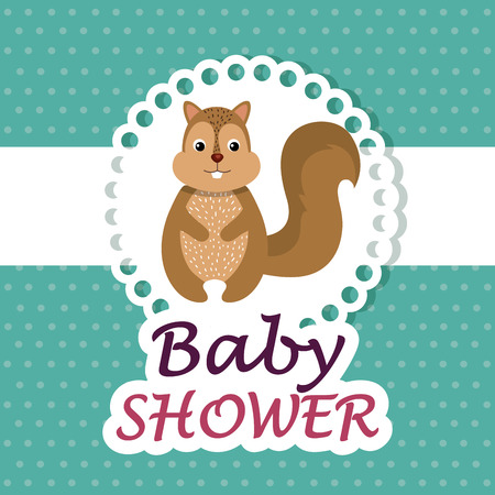 baby shower card with cute chipmunk vector illustration design 스톡 콘텐츠 - 105758091