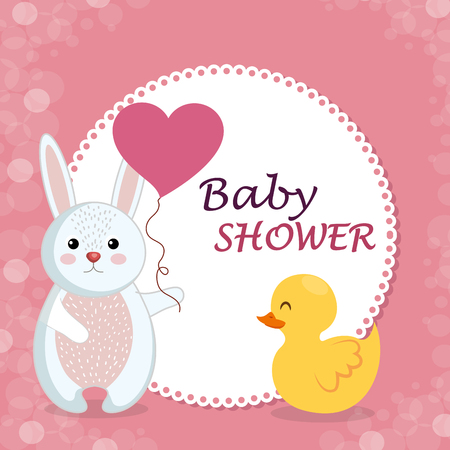 baby shower card with cute rabbit and duck vector illustration design