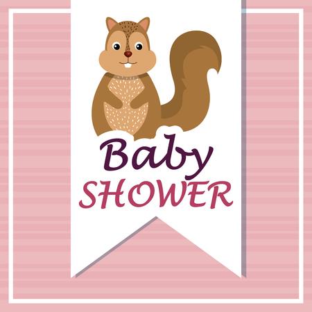 Tarjeta de baby shower con lindo diseño de ilustración de vector de ardilla