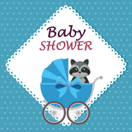 baby shower card with cute raccoon in cart vector illustration design