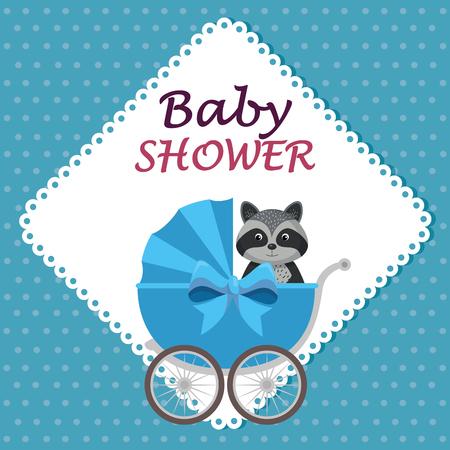 Tarjeta de baby shower con lindo mapache en carro, diseño de ilustraciones vectoriales Ilustración de vector