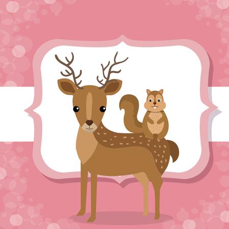 cute reindeer and chipmunk animal character vector illustration design