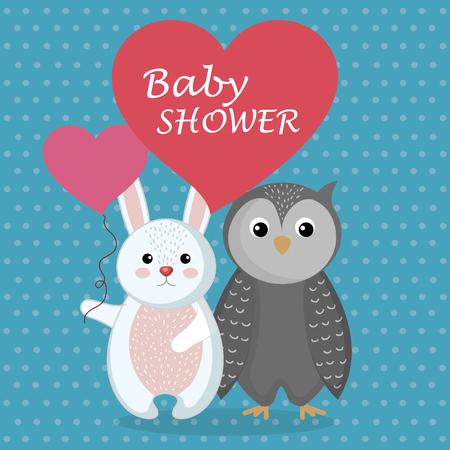 baby shower card with cute rabbit and owl vector illustration design