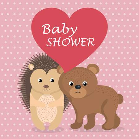 baby shower card with cute porcupine and bear vector illustration design