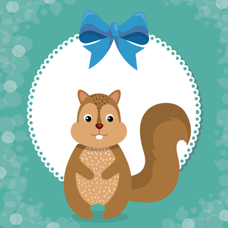baby shower card with cute chipmunk vector illustration design