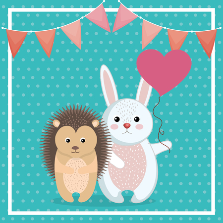 cute rabbit and porcupine animal character vector illustration design