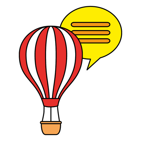 balloon air hot with speech bubble vector illustration design