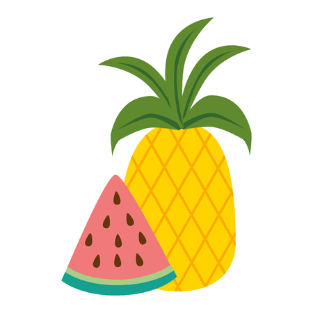 watermelon sliced with pineapple vector illustration design