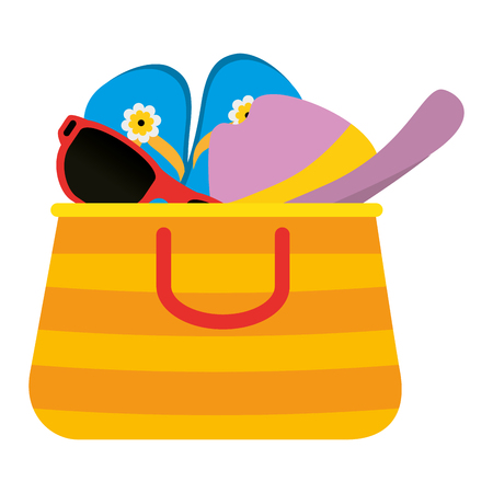 summer handbag with sandals and hat vector illustration design