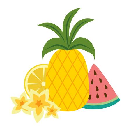 pastèque en tranches avec ananas et coquille d'escargot vector illustration design