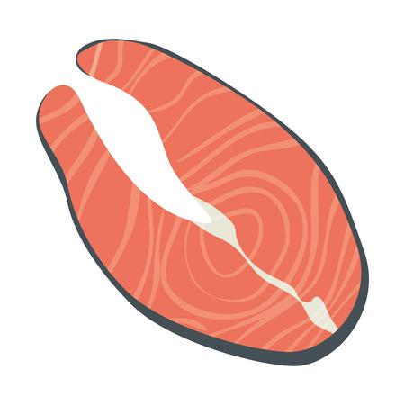 fresh salmon steak fish vector illustration design Illustration